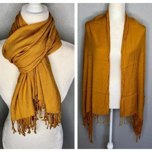Mustard Yellow Fringe Scarf Wrap Shawl Cover-Up